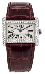 Cartier Tank Divan Mini W6300255 Stainless Steel Watch with Custom Diamond Bezel CRTDSS
