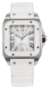 Cartier Women's Santos 100 2878 Stainless Steel and White Rubber Automatic Watch CRTMS4