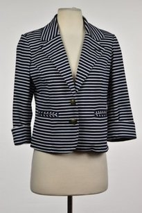 Cartonnier Cartonnier Womens Navy Striped Blazer 34 Sleeve Career Basic Jacket