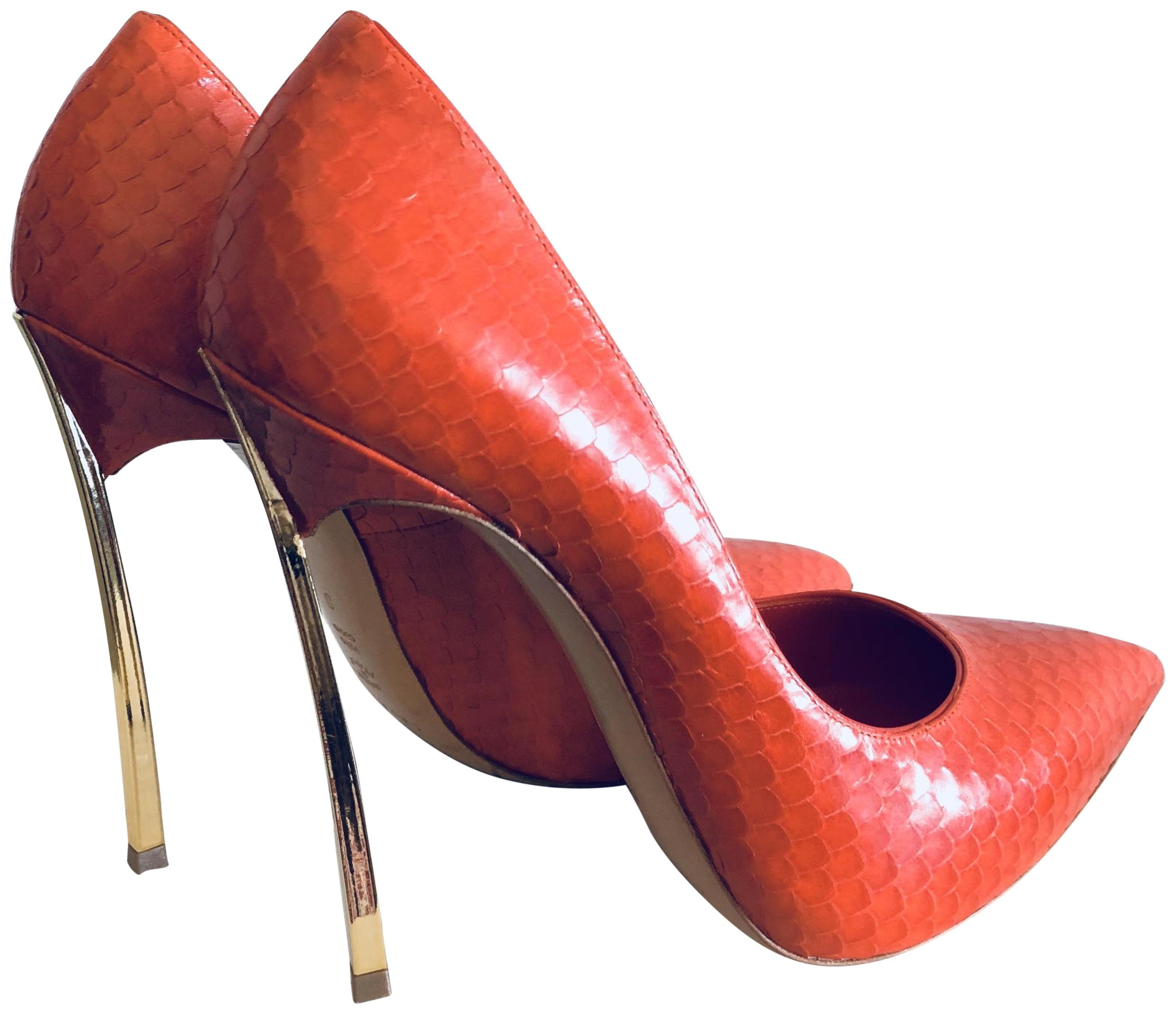 Casadei Red Blade Snakeskin Leather In Pumps Size US 8 Regular (M, B)