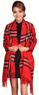 Cashmere Pashmina Group Red* Wool Cashmere Checker Plaid Scarf