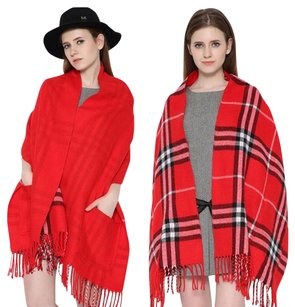 Cashmere Pashmina Group Red* Wool Cashmere Plaid Scarf Reversible Big Pocket Shawl