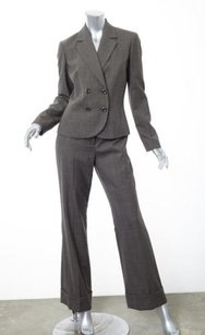 Casual Corner Casual Corner Womens Taupe Wool Blend Plaid Blazer Pant Suit 4s