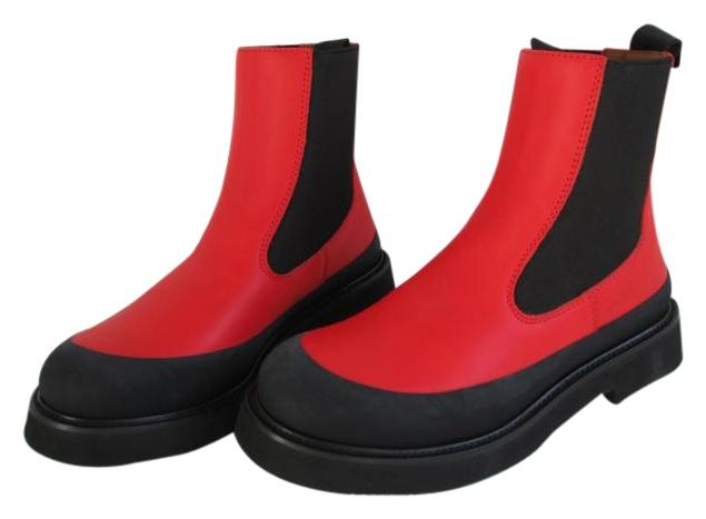 Céline Bright Red Leather Country Boots/Booties Size EU 38 (Approx. US 8) Regular (M, B)