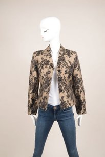 Céline Celine Black Nude Silk Cotton Lace Embroidered Blazer