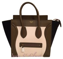 Céline Mini Luggage Tricolor Mini Luggage Leather Suede Tote in White, brown, black