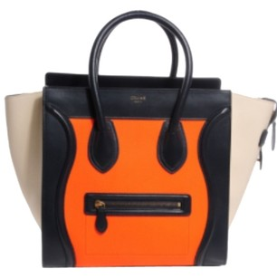 Céline Celine Celine Tote in White Orange