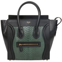 Céline Celine Luggage Micro Black Tote in Emerald Green