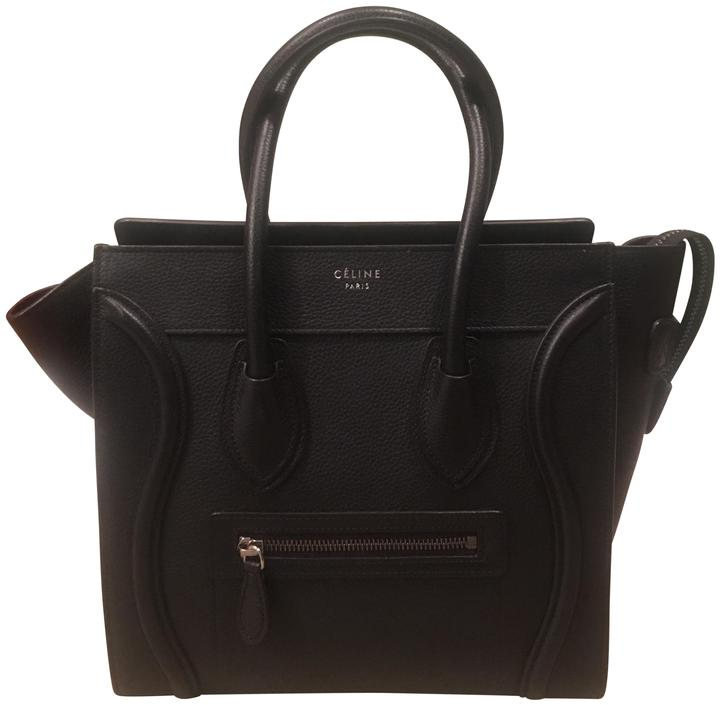 Tote Pebbled Leather Céline 1677793dru Black Luggage vqzHO0