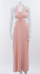 Pink Maxi Dress by Céline Blush Light Halter Cutout Maxi Long Formal Silk Cocktail 6m