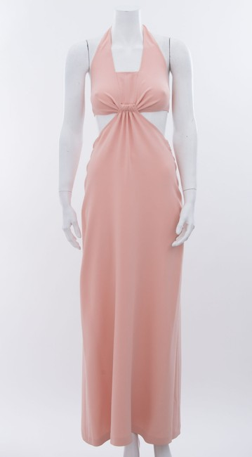 well-wreapped Céline Celine Blush Light Pink Halter Cutout Maxi Long Formal Silk Cocktail Dress 6m