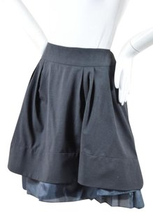 Céline Celine Stretch Wool Silk Mini Skirt Gray