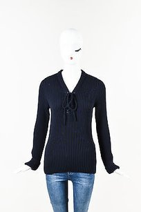 Céline Celine Navy Wool Ribbed Lace Sweater