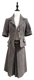 Céline Wool Herringbone Tweed A-Line Skirt Cropped Jacket Blazer Suit Set