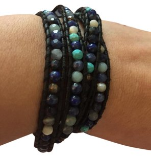 Chan Luu Blue Sodalite, Turquoise & Mixed Crystals 5 Wrap Bracelet