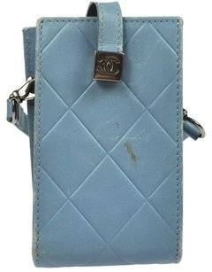 Chanel 100% Auth CHANEL CC Logos Quilted Phone Case Blue Leather Italy Vintage 6998Ar