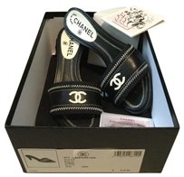 Chanel $510 Logo Leather Navy Blue,Black,White Mules