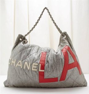 Chanel Silver Red Leather Tote