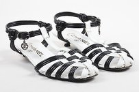 Chanel White Leather Black Sandals
