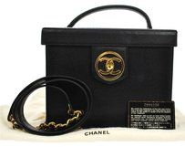 Chanel Auth CHANEL CC 2way Cosmetic Vanity Hand Bag Black Caviar Leather VTG BT07853