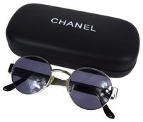 Chanel Auth CHANEL Logos Sunglasses Eye Wear Black Silver Metal Italy Vintage 05C073