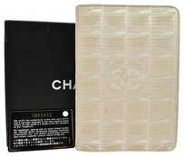 Chanel Auth CHANEL New Travel Line Note Book Cover Beige Nylon Vintege With Box LP10084