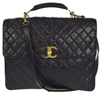 Chanel Auth CHANEL Quilted 2Way Business Hand Bag Leather Black Italy Vintage 626C626