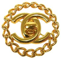 Chanel Auth CHANEL Vintage CC Logos Brooch Gold-Tone 97A France Accessories LP02476