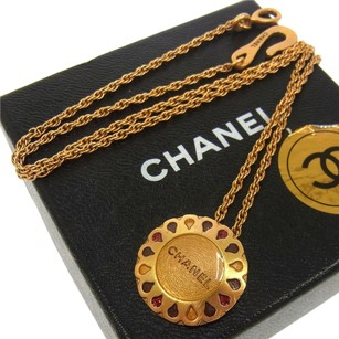 Chanel Auth CHANEL Vintage CC Logos Gold Chain Rhinestone Necklace 99A France E06233