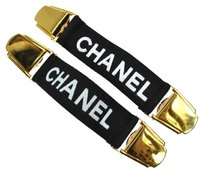 Chanel Authentic CHANEL Arm Garter CC Logos Black Gold Canvas Metal Vintage LP10089