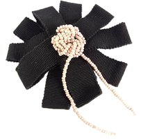 Chanel Authentic CHANEL CC Logos Cotton Corsage Flower Beads Brooch Pin F/S 3267eRm