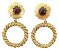 Chanel Authentic CHANEL CC Logos Jumbo Huge Earrings Gold-Tone Clip-On 100-7 4.2