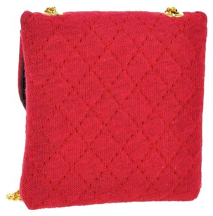 Chanel Authentic CHANEL CC Logos Quilted Shoulder Pouch Bag Red Cotton Vintage BT06915