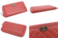 Chanel AUTHENTIC CHANEL Lambskin Leather Boy Chanel Long Zip Around Wallet Rose A68733