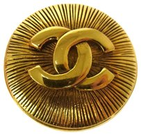 Chanel AUTHENTIC CHANEL VINTAGE CC LOGOS BROOCH PIN GOLD-TONE CORSAGE FRANCE JT00630
