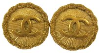 Chanel Authentic CHANEL Vintage CC Logos Gold Button Earrings Clip-On France AK03890