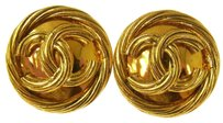 Chanel Authentic CHANEL Vintage CC Logos Gold Button Earrings Clip-On France AK04129