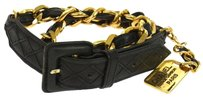 Chanel AUTHENTIC CHANEL VINTAGE CC LOGOS GOLD CHAIN LEATHER BELT BLACK ITALY W25261B