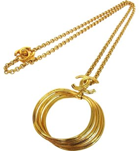 Chanel Authentic CHANEL Vintage CC Logos Gold Chain Pendant Necklace 96P France RK06512