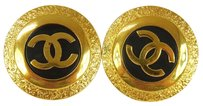 Chanel Authentic CHANEL Vintage CC Logos Gold-Tone Button Earrings Clip-On AK04383