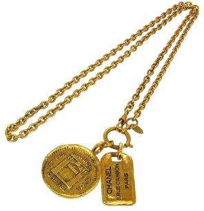 Chanel Authentic CHANEL Vintage CC Logos Medallion Gold Chain Necklace France BT04875