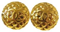 Chanel Authentic CHANEL Vintage CC Logos Quilted Button Gold Earrings Clip-On AK02679