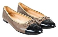 Chanel Brown Taupe Brown, Black Flats