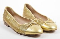 Chanel Metallic Leather Gold Flats