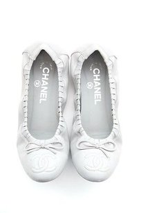 Chanel Light Leather Gray Flats