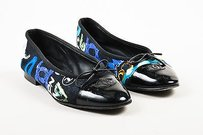 Chanel Black Blue Printed Multi-Color Flats