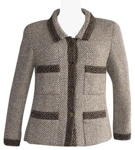 Chanel Boutique Tan Brown Wool Blend Tweed Career Evening Hs864 Beige Jacket