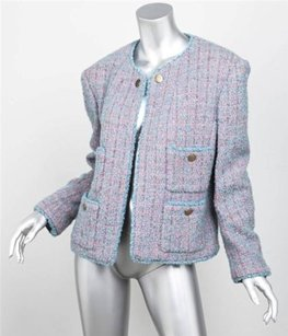 Chanel Boutique Womens Classic Pinkblue Boucle Blazer Jacket