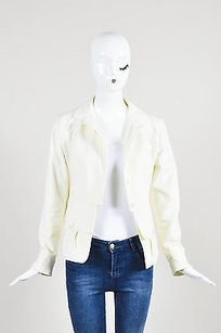 Chanel 03a Cream Cotton Denim Tailored Long Sleeve White Jacket