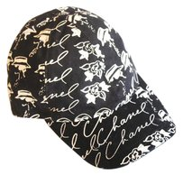 Chanel Black and White Coco Camellia Flower Baseball Cap Hat